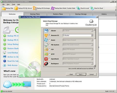 CloudBerry Backup Server - Assistente