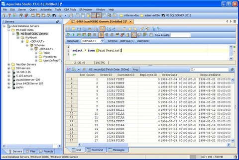 Aqua Data Studio - Informações de Dados