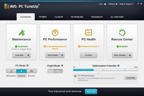 PC TuneUp - Tela inicial
