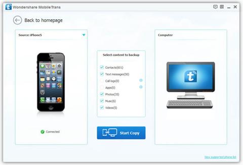Wondershare MobileTrans - Seleção de dispositivos