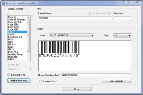 Aeromium Barcode Fonts - Modelo de código de barras
