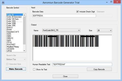 Aeromium Barcode Fonts - Exemplo