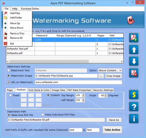 Apex PDF Watermarking Software